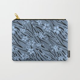 Blue flowers on blue tiger background. Carry-All Pouch