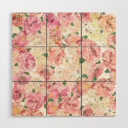 Flowers, Floral Explosion, Floral Pattern, Pink Flowers Wood Wall Art