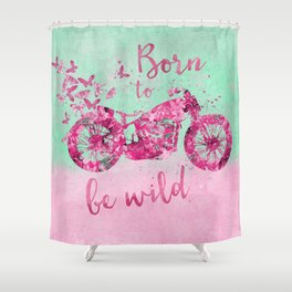 Artsy Colorful Flower Power Motorcycle Shower Curtain