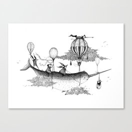 Whiskers Narwhal Canvas Print