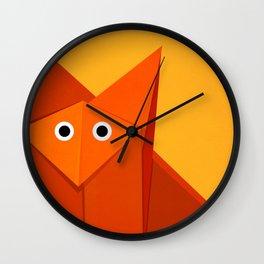 Geometric Cute Origami Fox Portrait Wall Clock