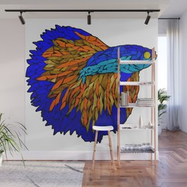 Betta Fighting Fish _ Orange Wall Mural