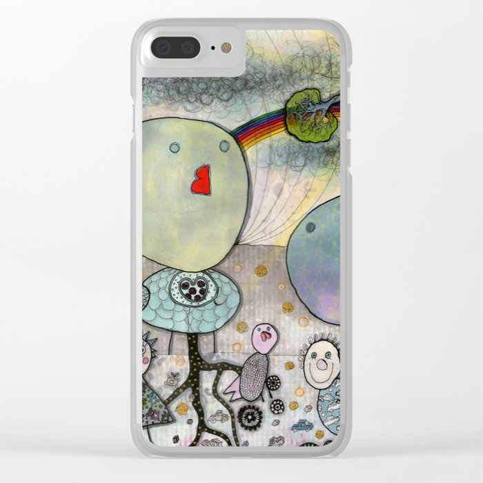 """Birds"" illustration Clear iPhone Case"