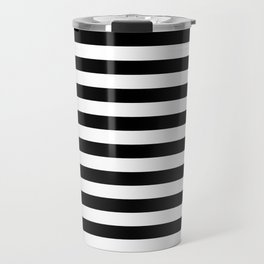 Black and White Horizontal Strips Travel Mug