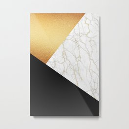 GOLDEN MARBLE TRIANGLE Metal Print