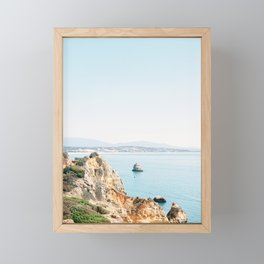Coast of Lagos, Algarve in Portugal | Bright and airy seascape photography art Framed Mini Art Print