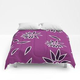 Dark Purple Falling Flora Pattern 2 Comforters