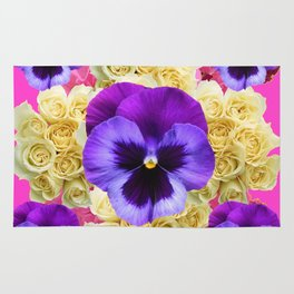 PURPLE PANSY FLOWERS & IVORY ROSES  PINK ART Rug