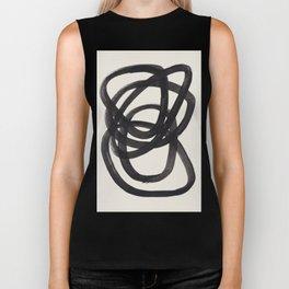 Mid Century Modern Minimalist Abstract Art Brush Strokes Black & White Ink Art Spiral Circles Biker Tank