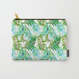 Hand painted teal green watercolor tropical leaves Carry-All Pouch