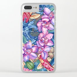 Orchid Splash Clear iPhone Case
