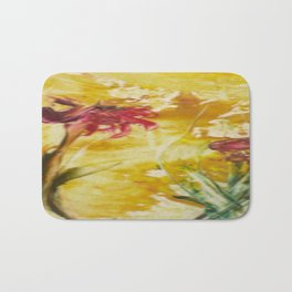 Abstract Red Poppies From Original Encaustic Art Bath Mat