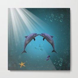 dolphins love Metal Print