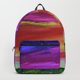 Sunset Memories - Abstract Sky - Landscape Oil Painting Backpack