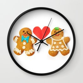 Gingerbread cookies and red heart Wall Clock
