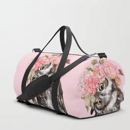 Owl with Flowers Crown Duffle Bag
