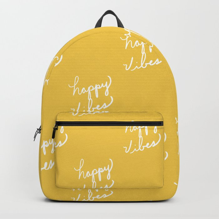 Happy Vibes Yellow Backpack