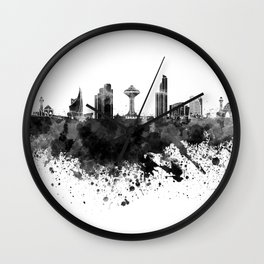 Khobar skyline in black watercolor Wall Clock