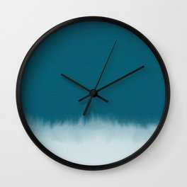dark cyan watercolor Wall Clock