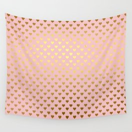 Gold and pink sparkling and shiny Hearts pattern Wall Tapestry
