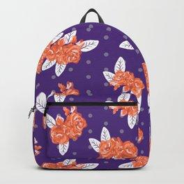 Floral clemson sports college football university varsity team alumni fan gifts purple and orange Backpack