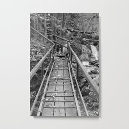wooden bridge Fischbach, black and white photography Metal Print