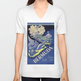 Vintage Mermaid Bermuda Unisex V-Neck
