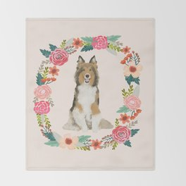 Sheltie floral wreath dog breed shetland sheepdog pet portrait Throw Blanket