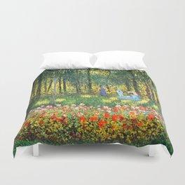 Claude Monet The Artist's Family In The Garden Duvet Cover