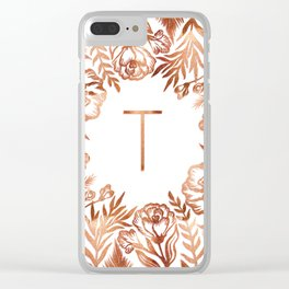 Letter T - Faux Rose Gold Glitter Flowers Clear iPhone Case