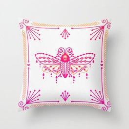 Death's Head Hawkmoth – Pink Ombré Palette Throw Pillow