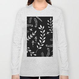 White Leaves Pattern #3 #drawing #decor #art #society6 Long Sleeve T-shirt