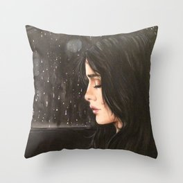 sad women in rain Throw Pillow