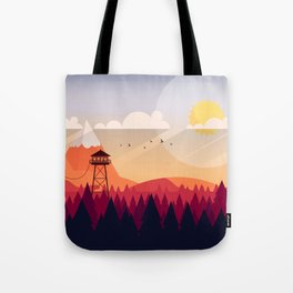 Vector Art Landscape with Fire Lookout Tower Tote Bag