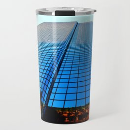 Reflection of a Building when Sunset is approaching Travel Mug