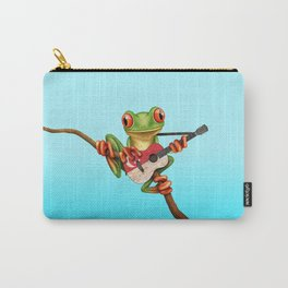 Tree Frog Playing Acoustic Guitar with Flag of Singapore Carry-All Pouch