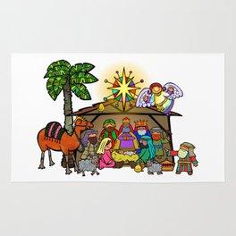 Christmas Nativity Cartoon Doodle Rug