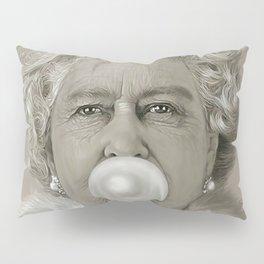 Queen Elizabeth II Blowing White Bubble Gum Pillow Sham