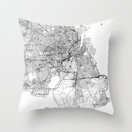 Copenhagen White Map Throw Pillow