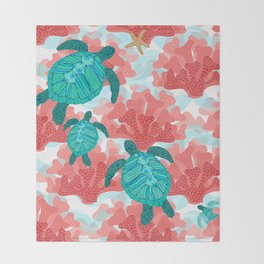 Sea Turtles in The Coral - Ocean Beach Marine Throw Blanket