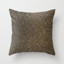 Bronze Gold Burnished Glitter Throw Pillow