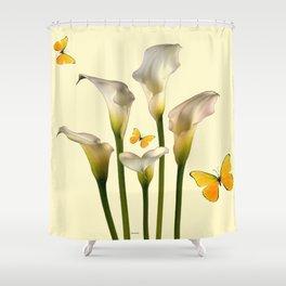 Ivory Calla Lilies Yellow Butterflies Shower Curtain