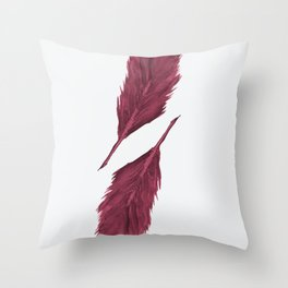 Twin Feathers - bordeux Throw Pillow
