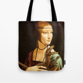 Lady with a Velociraptor Tote Bag