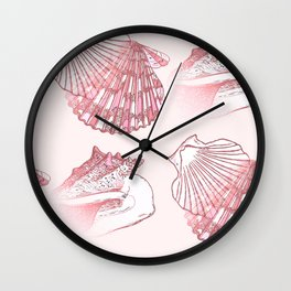 Seashells Coastal Nautical Pattern Pink Wall Clock