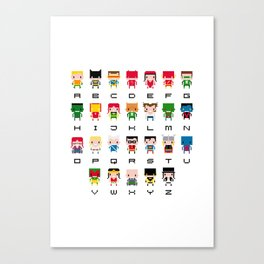 Superhero Alphabet Canvas Print