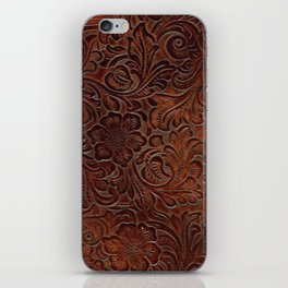 Burnished Rich Brown Tooled Leather iPhone Skin