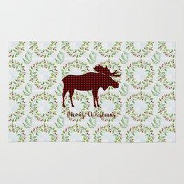 Winter Wreath Merry Christmas Red Buffalo Plaid Reindeer Rug