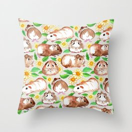 Guinea Pigs and Daisies in Watercolor Throw Pillow