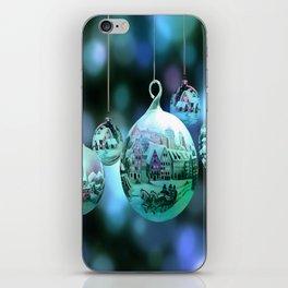 Christmas Bulbs in Blue iPhone Skin